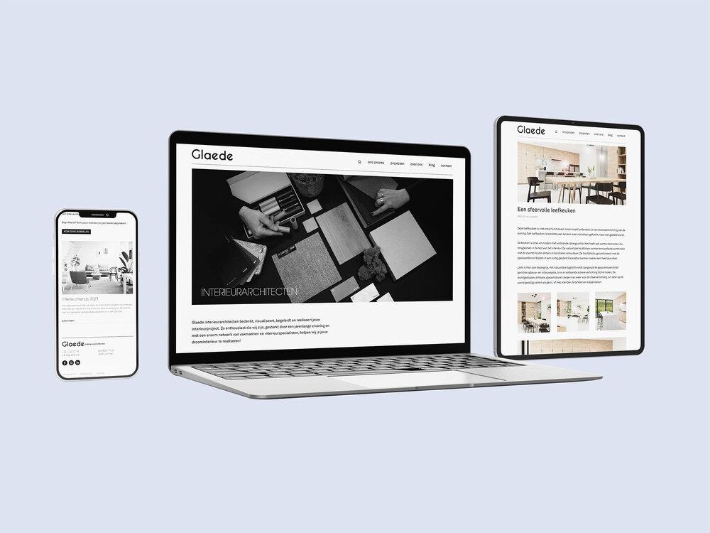 Strakke bedrijfswebsite voor Glaede interieurarchitecten