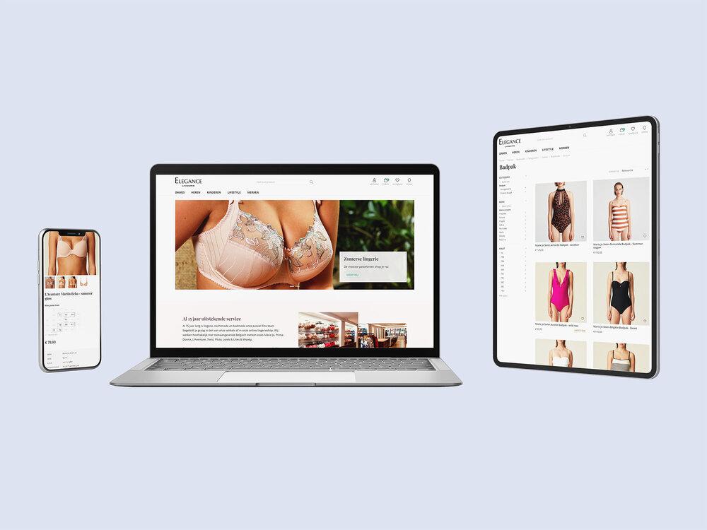 Webshop met kassakoppeling op maat voor Elegance Lingerie