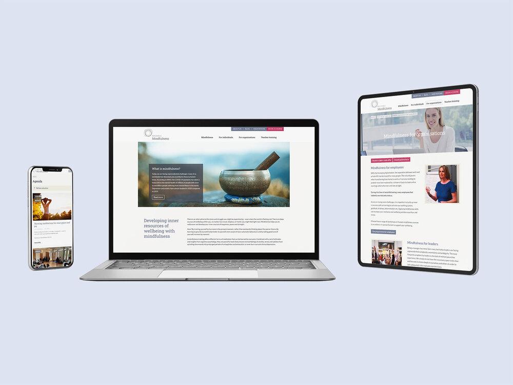 Website met evenwichtige structuur voor Brussels Mindfulness